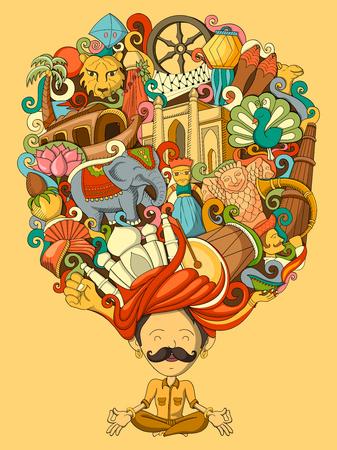 ilustración vectorial de sueño y el pensamiento del hombre indio Ilustración de vector