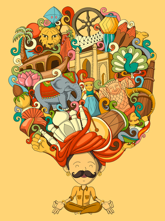 qutub minar: vector illustration of dream and thought of Indian man