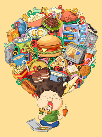 foodie: vector illustration of dream and thought of foodie boy