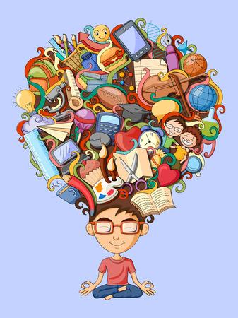 illustration vectorielle du rêve et de la pensée de l'étudiant