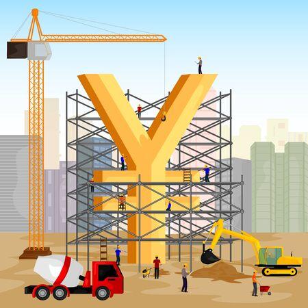 financial market: vector illustration of structure building of Yen