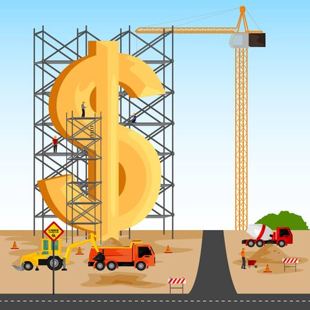 building structure: vector illustration of structure building of Dollar