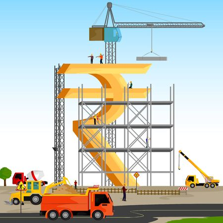 building structure: vector illustration of structure building of Indian Rupee