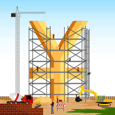 property of china: vector illustration of structure building of Yuan