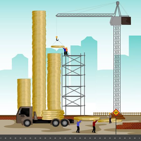 building structure: vector illustration of structure building of coin