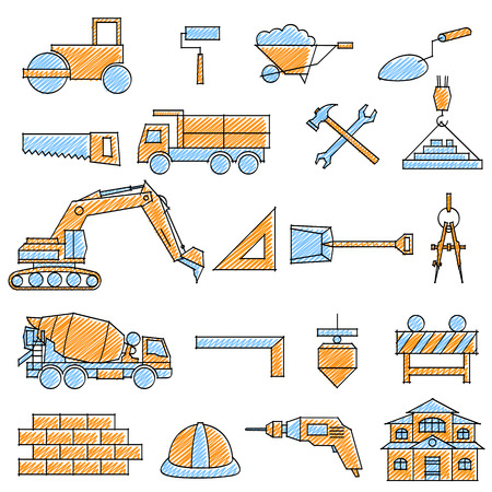 vector illustration of set of scribbled Construction icon against isolated background Illustration