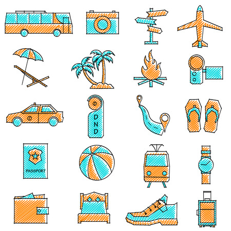 vector illustration of set of scribbled travel icon against isolated background