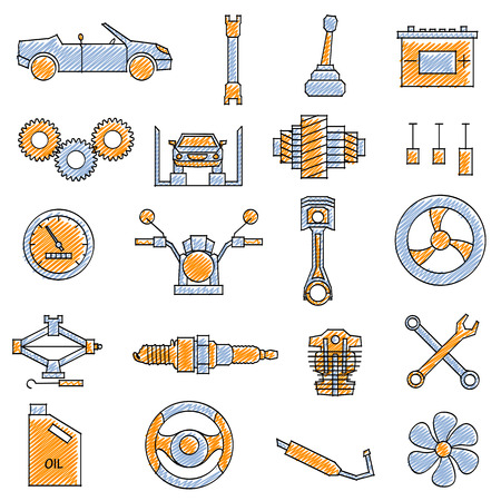 drive: vector illustration of set of scribbled Mechanical icon against isolated background
