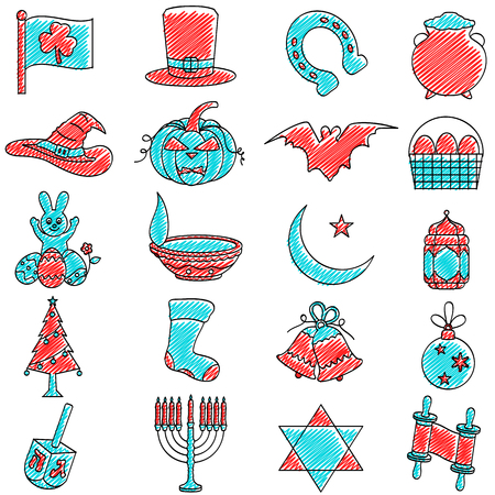 sukkot: vector illustration of set of scribbled Holiday icon against isolated background