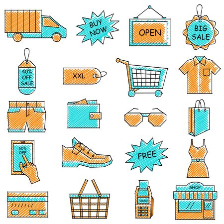 e commerce icon: illustration of set of scribbled e commerce and online shopping icon against isolated background