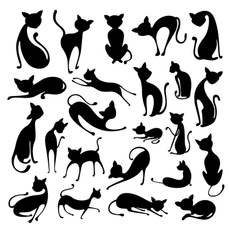 pose: illustration of collection of Silhouette of Cat Illustration
