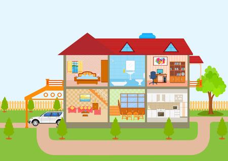illustration de la maison en vue coupe avec inter détaillées et des meubles