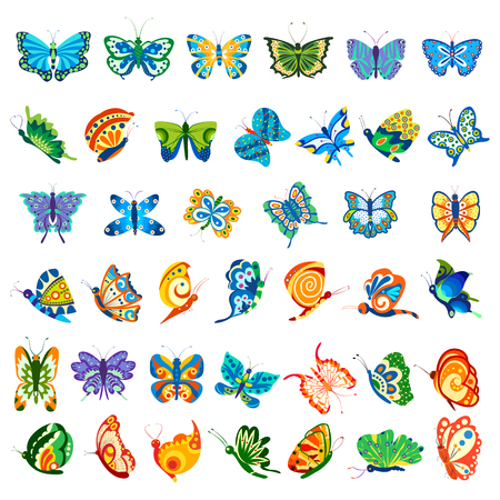 designing: illustration of collection of colorful butterfly for designing Illustration