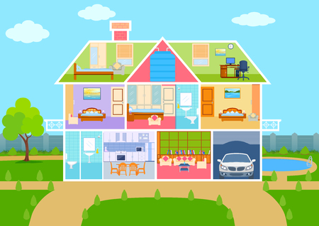 HOUSES: illustration of House in cut view with detailed interior and furniture Illustration