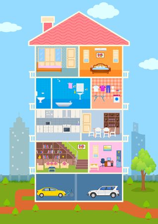 illustration of House in cut view with detailed interior and furniture Ilustração