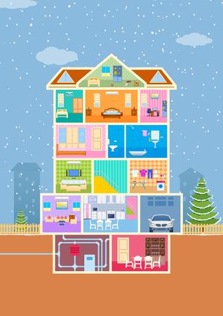 Ilustración de la casa a la vista con corte entre detallada y muebles Ilustración de vector