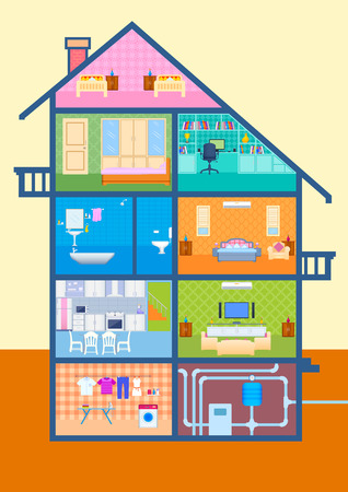 sections: vector illustration of House in cut view with detailed interior and furniture