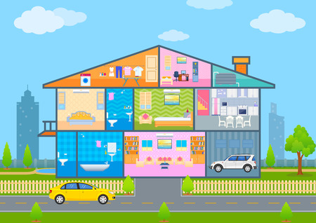 cutaway: vector illustration of House in cut view with detailed interior and furniture