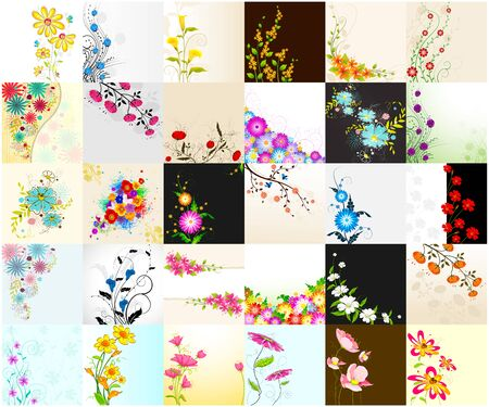 garden flowers: vector illustration of collection of floral background