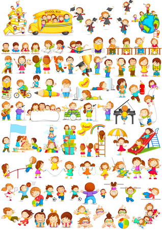 vector illustration of children doing different fun activities liking painting,studying,sports and music