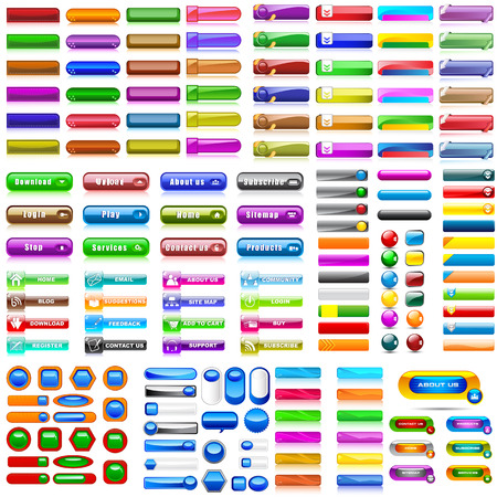 vector illustration of collection of colorful blank web buttons for website or app Stok Fotoğraf - 58409749