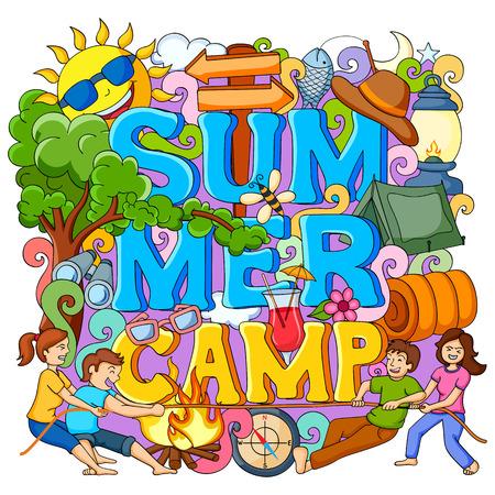 campamento: ilustración vectorial de doodle del cartel de los niños del campamento de verano