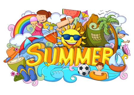 vector illustration of doodle of Summer poster Stock Illustratie