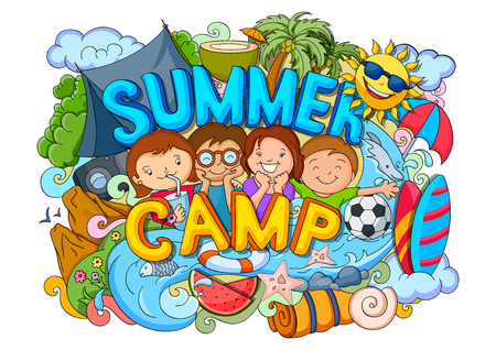 ilustración vectorial de doodle del cartel de los niños del campamento de verano