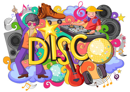 discoball: vector illustration of doodle on Disco concept