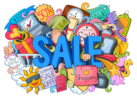 shopping sale: vector illustration of doodle of shopping sale poster with different element Illustration
