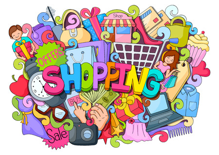 vector illustration of doodle on Shopping concept poster with different element