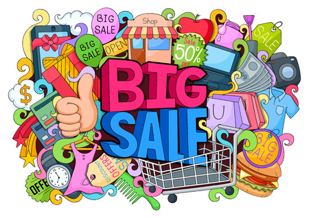 vector illustration of doodle of Big shopping sale poster with different element