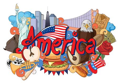 미국의 건축과 문화를 보여주는 낙서의 벡터 일러스트 레이션