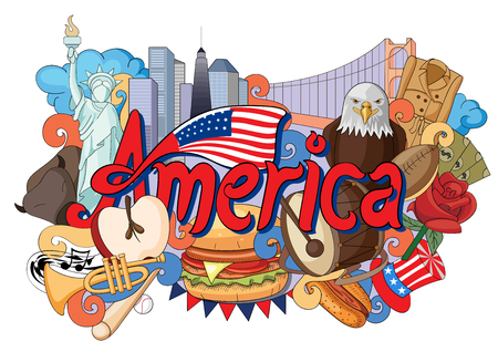 vector illustration of Doodle showing Architecture and Culture of America