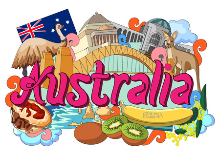 melbourne: vector illustration of Doodle showing Architecture and Culture of Australia
