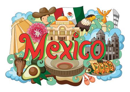 bandera mexicana: ilustración vectorial de Doodle que muestra la arquitectura y la cultura de México