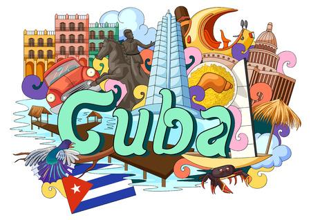 ilustración vectorial de Doodle que muestra la arquitectura y la cultura de Cuba Vectores