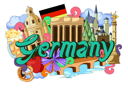 german tradition: vector illustration of Doodle showing Architecture and Culture of Germany Illustration