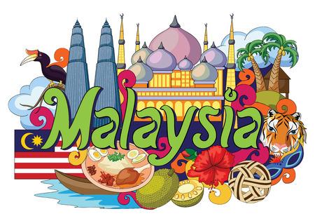 ilustración vectorial de Doodle que muestra la arquitectura y la cultura de Malasia