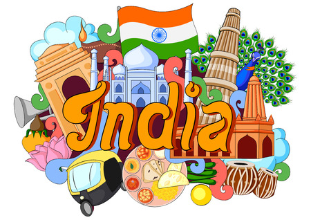 india culture: vector illustration of Doodle showing Architecture and Culture of India