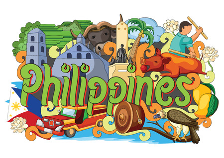 vector illustration of Doodle showing Architecture and Culture of Philippines