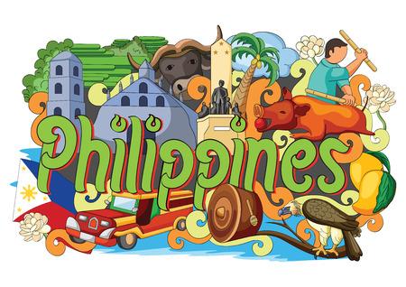 Vektor-Illustration Doodle zeigt Architektur und Kultur der Philippinen