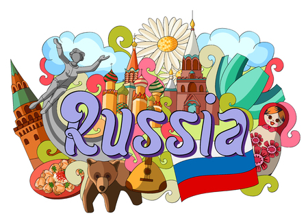 vector illustration of Doodle showing Architecture and Culture of Russia Illustration