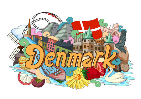 townscape: vector illustration of Doodle showing Architecture and Culture of Denmark