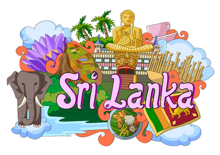 buddha sri lanka: vector illustration of Doodle showing Architecture and Culture of Sri Lanka