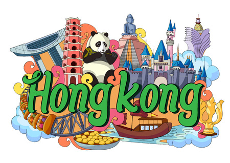 hong kong harbour: vector illustration of Doodle showing Architecture and Culture of Hong Kong