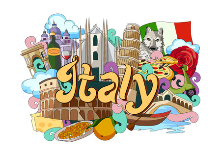 vector illustration of Doodle showing Architecture and Culture of Italy