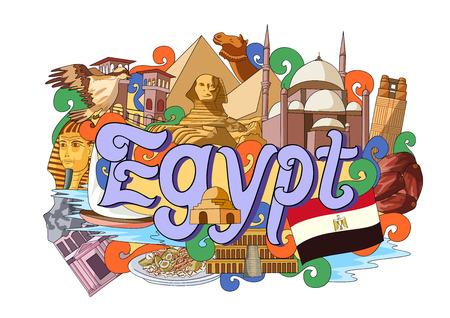 bandera de egipto: ilustración vectorial de Doodle que muestra la arquitectura y la cultura de Egipto