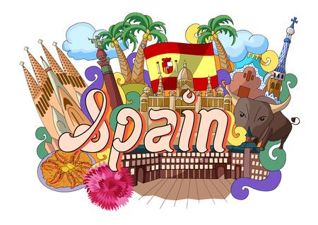 monumento: ilustración vectorial de Doodle que muestra la arquitectura y la cultura de España Vectores