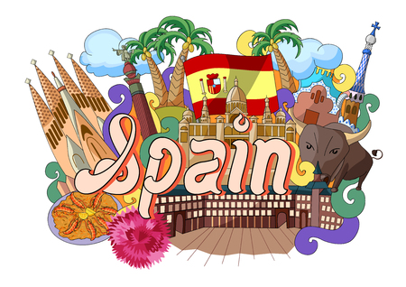 culture: vector illustration of Doodle showing Architecture and Culture of Spain